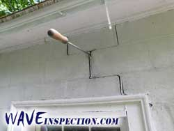Significant diagonal foundation crack. WAVE Home Inspector MA CT RI