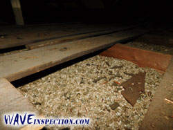 Vermiculite insulation - High risk of asbestos. - WAVE Home Inspector MA CT RI